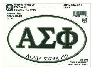 Alpha Sigma Phi Euro Decal Oval Sticker