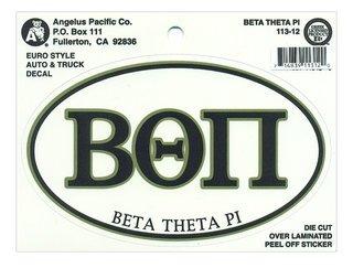 Beta Theta Pi Euro Decal Oval Sticker