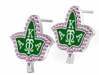 Alpha Kappa Alpha Ivy With Green Enamel Earring