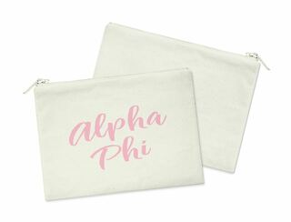 Alpha Phi Script Cosmetic Bag
