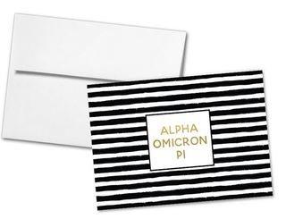 Alpha Omicron Pi Striped Notecards(6)