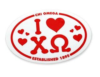 Chi Omega I Love Sorority Sticker - Clearance - $1.00