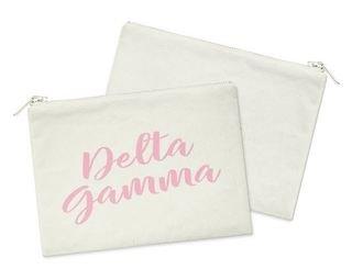 Delta Gamma Script Cosmetic Bag