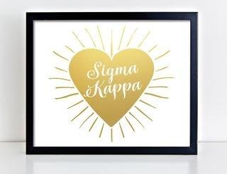 Sigma Kappa Heart Burst Foil Print