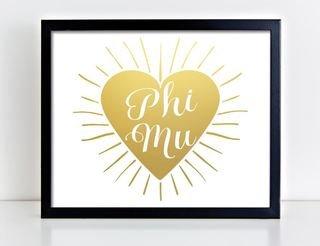 Phi Mu Heart Burst Foil Print