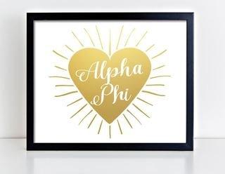 Alpha Phi Heart Burst Foil Print