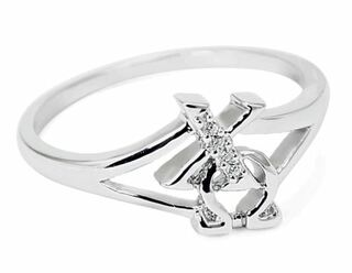 Chi Omega Sterling Silver Ring set with Lab-Created Diamonds