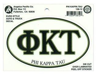 Phi Kappa Tau Euro Decal Oval Sticker