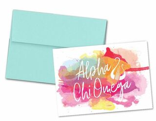 Alpha Chi Omega Watercolor Script Notecards(6)