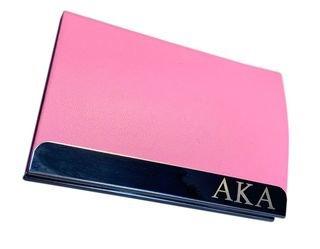 Alpha Kappa Alpha Pink Engraved Business Card Holder
