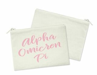 Alpha Omicron Pi Script Cosmetic Bag