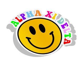 Alpha Xi Delta Smiley Face Decal Sticker