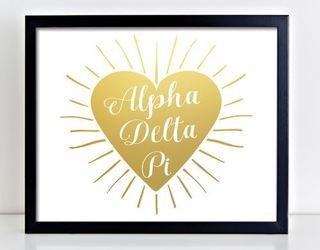 Alpha Delta Pi Heart Burst Foil Print