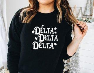 Delta Delta Delta Comfort Colors Old School Custom Crew