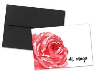 Chi Omega Floral Script Notecards(6)