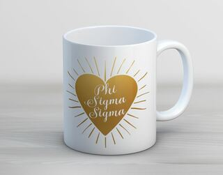 Phi Sigma Sigma Heart Burst Coffee Mug