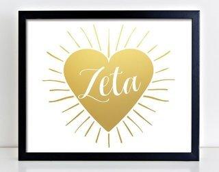 Zeta Tau Alpha Heart Burst Foil Print