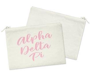 Alpha Delta Pi Script Cosmetic Bag