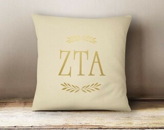 Zeta Tau Alpha Foil Letters Pillow