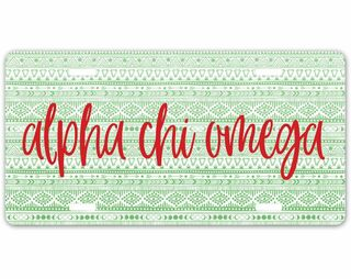 Alpha Chi Omega Aztec License Plate