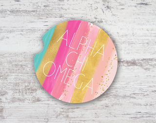 Alpha Chi Omega Bright Stripes Sandstone Car Cup Holder Coaster