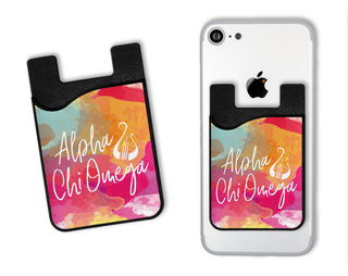 Alpha Chi Omega Watercolor Caddy Phone Wallet