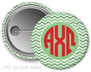 Alpha Chi Omega Chevron Monogram Button