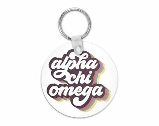 Alpha Chi Omega Retro Script Keychain