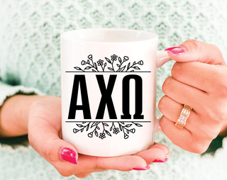 Alpha Chi Omega Floral Letters Mug