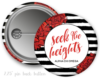 Alpha Chi Omega Floral Motto Button
