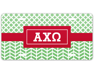 Alpha Chi Omega Geometric License Plate