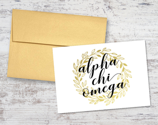Alpha Chi Omega Gold Wreath Notecards(6)