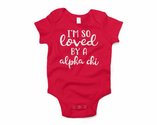 Alpha Chi Omega I'm So Loved Baby Outfit Onesie