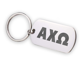 Alpha Chi Omega Letters Stainless Keychain