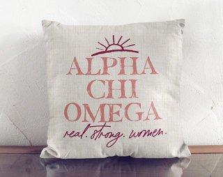 Alpha Chi Omega Linen Sun Pillow
