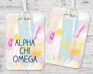 Alpha Chi Omega Watercolor Luggage Tag