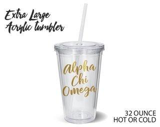 Alpha Chi Omega Metallic Gold XL Tumbler