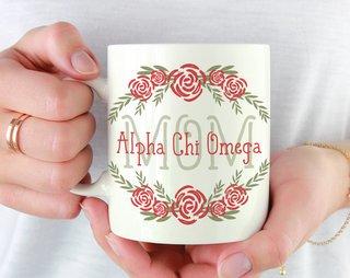 Alpha Chi Omega Mom Floral Mug