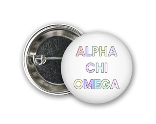 Alpha Chi Omega Pastel Letter Button