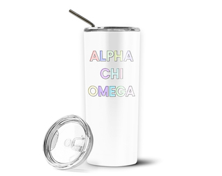 Alpha Chi Omega Pastel Letters Outline Stainless Tumbler