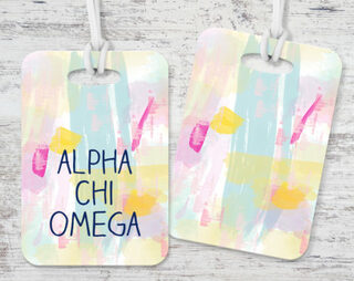 Alpha Chi Omega Pastel Strokes Luggage Tag