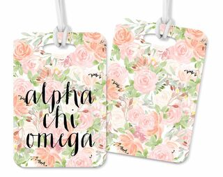 Alpha Chi Omega Personalized Pink Floral Luggage Tag