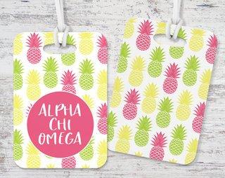 Alpha Chi Omega Pineapple Luggage Tag