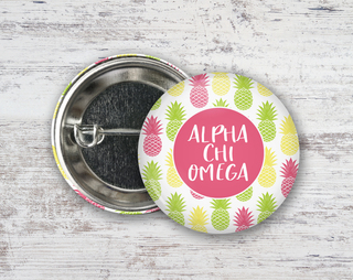 Alpha Chi Omega Pineapples Button
