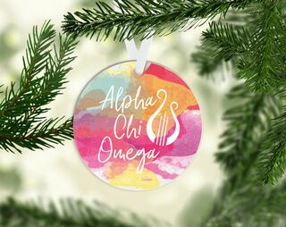 Alpha Chi Omega Round Acrylic Watercolor Ornament