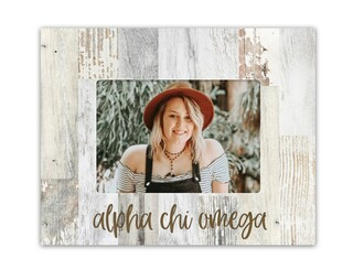 Alpha Chi Omega Rustic Picture Frame