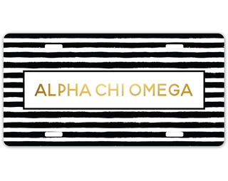 Alpha Chi Omega Striped Gold License Plate