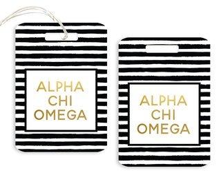 Alpha Chi Omega Striped Gold Luggage Tag