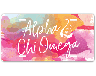Alpha Chi Omega Watercolor Script License Plate