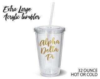 Alpha Delta Pi Metallic Gold XL Tumbler